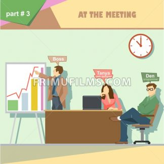 Business company roles situation infographics with boss, web designer and programmer in a meeting at work. Digital vector image - frimufilms.com
