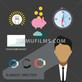 Business direction infographic with icons, persons and money, flat design. Digital vector image - frimufilms.com