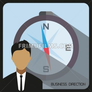 Business direction with a person and compass, flat design. Digital vector image - frimufilms.com