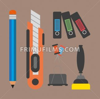 Business elements infographic with icons and office accesorries, flat design. Digital vector image - frimufilms.com