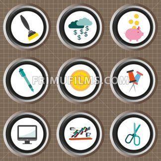 Business icons set, flat style over brown background with grid. Digital vector image - frimufilms.com