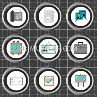 Business icons set, flat style over silver background with white grid. Digital vector image - frimufilms.com