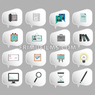 Business icons set, flat style over silver background. Digital vector image - frimufilms.com