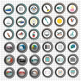 Business icons set, flat style over white background with silver grid. Digital vector image - frimufilms.com