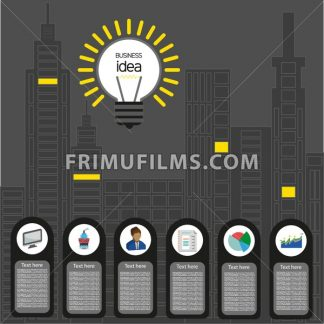 Business idea design with bulb and city buildings icons, flat design. Digital vector image - frimufilms.com