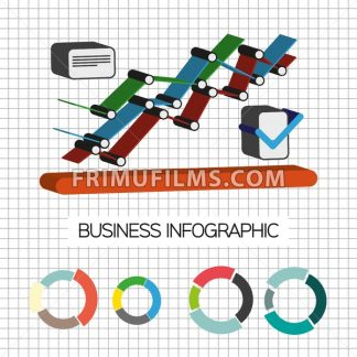 Business idea infographic with icons and charts, flat design. Digital vector image - frimufilms.com