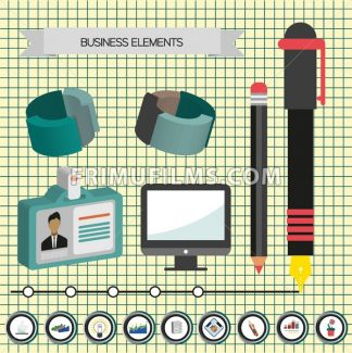 Business idea infographic with icons, persons and 3d charts, flat design. Digital vector image - frimufilms.com