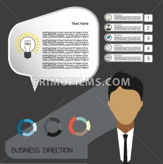 Business idea infographic with icons, persons and charts, flat design. Digital vector image - frimufilms.com