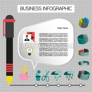 Business idea infographic with icons, persons and pencils, flat design. Digital vector image - frimufilms.com