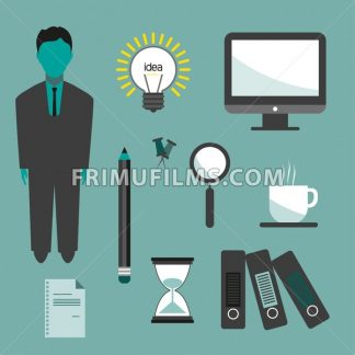 Business idea infographic with icons, persons, computer, pencil and badge, flat design. Digital vector image - frimufilms.com