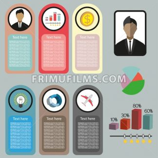 Business idea infographic with icons, persons, money and charts, flat design. Digital vector image - frimufilms.com