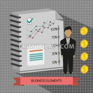 Business idea infographic with icons, persons, money, charts and papers, flat design. Digital vector image - frimufilms.com