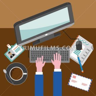 Business infographic with icons, computer and typing keyboard, flat design. Digital vector image - frimufilms.com