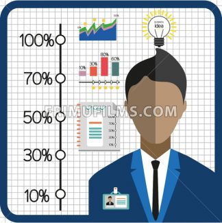 Business infographic with icons, person, charts and badge, flat design. Digital vector image - frimufilms.com