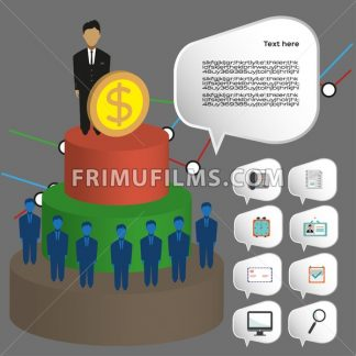 Business infographic with icons, persons, 3d pie chart and badge, flat design. Digital vector image - frimufilms.com