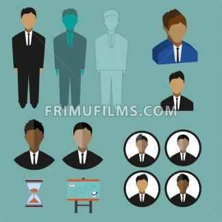 Business infographic with icons, persons, charts and hourglass, flat design. Digital vector image - frimufilms.com