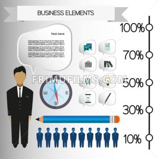 Business infographic with icons, persons, pencil and badge, flat design. Digital vector image - frimufilms.com