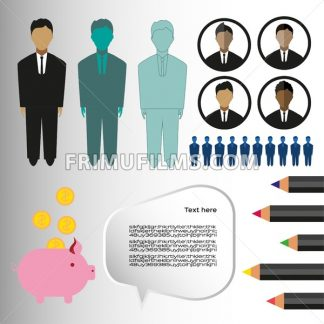 Business infographic with icons, persons, pencils and money box, flat design. Digital vector image - frimufilms.com