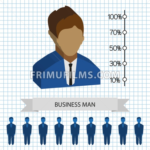 Businessman profiles icons with chart, flat style. Digital vector image - frimufilms.com