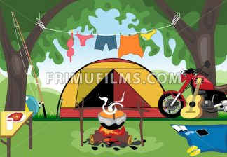 Camping day celebration with a tent in the middle of wild nature. Digital vector image - frimufilms.com