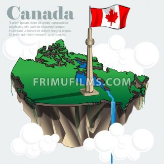 Canada country infographic map in 3d with country shape flying in the sky with clouds with the big flag and lakes. Digital vector image - frimufilms.com