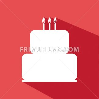 Candy card with a big chocolate cream cake with shadow, burning candles on top, over red background in outline style. Digital vector image. - frimufilms.com