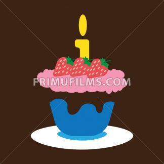 Candy Card With Set Of Cream Cakes With Chocolate And Cherry