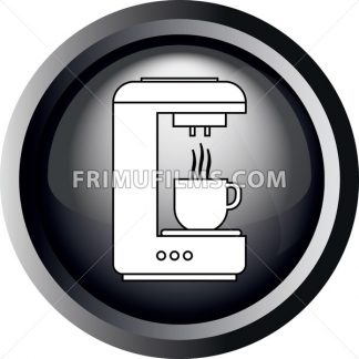 Card with a coffee making machine pouring coffee in a cup, in round frame in 3d over a white background, in black and white outline style. Digital vector image. - frimufilms.com