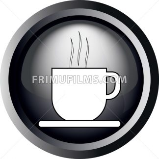 Card with a cup of coffee with steam, in round frame in 3d over a white background, in black and white outline style. Digital vector image. - frimufilms.com