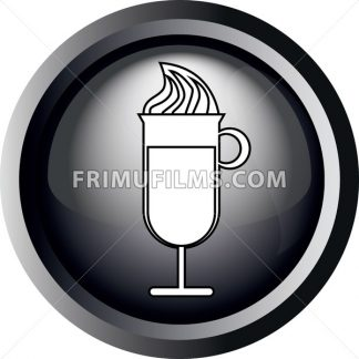 Card with a glass of coffee with ice cream, in round frame in 3d over a white background, in black and white outline style. Digital vector image. - frimufilms.com