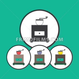 Card with a set of old coffee mills in round frames over a green background, in outline style. Silver, blue, yellow and red. Digital vector image. - frimufilms.com