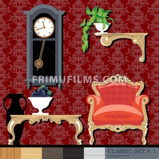 Classic style interior set, flat style. Digital vector image - frimufilms.com