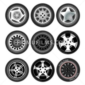 Collection of nine wheels with tires. Different forms and object variation. Car wheels. Isolated tires on white background. Digital vector illustration. - frimufilms.com