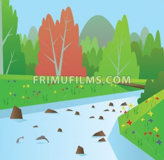 Digital vector abstract background with a blue river with fish, forest with red and green trees, flowers, blue sky, flat triangle style - frimufilms.com