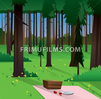 Digital vector abstract background with a green forest, big brown trees, yellow flowers, plate and food, flat triangle style - frimufilms.com