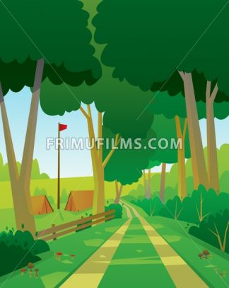 Digital vector abstract background with a green forest, big tree,small wooden house, flat triangle style - frimufilms.com