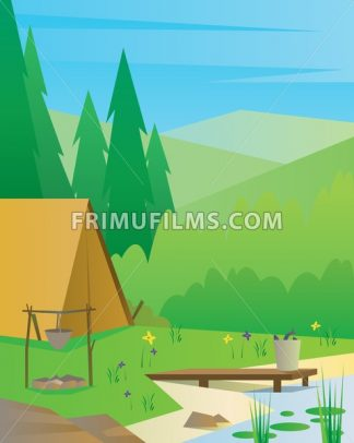 Digital vector abstract background with a tourist camp with fireplace, big tree, a river and fish, blue sky, flat triangle style - frimufilms.com
