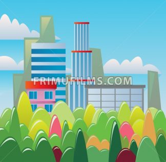 Digital vector abstract background with buildings and city view, forest with red, green and yellow trees, clouds, blue sky, flat triangle style - frimufilms.com