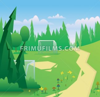 Digital vector abstract background with meadow with flowers and mushrooms, forest with green trees, clouds, football and soccer field and gates, blue sky, flat triangle style - frimufilms.com