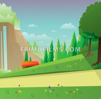 Digital vector abstract background with meadow with flowers, forest with green trees, clouds, small wooden house with red roof, blue sky, flat triangle style - frimufilms.com