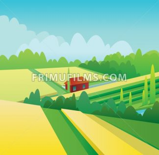 Digital vector abstract background with yellow corn fields and hills, forest with green trees, clouds, small wooden red house, blue sky, flat triangle style - frimufilms.com