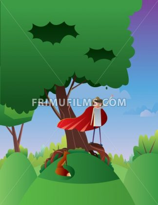 Digital vector abstract cartoony happy young boy on a big green tree, hand up in the air, over blue background with clouds, flat triangle style - frimufilms.com