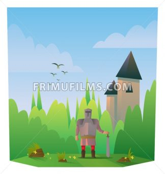 Digital vector abstract cartoony warrior fighter with metal armor and sword, castle, over blue background with clouds, flat triangle style - frimufilms.com