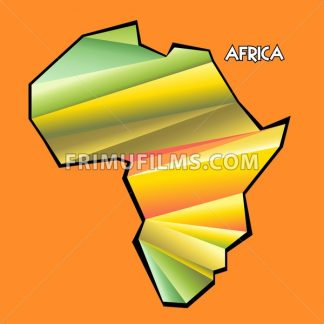 Digital vector africa map with abstract colored triangles and black outline, flat style - frimufilms.com