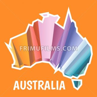 Digital vector australia map with abstract colored triangles and white outline, flat style - frimufilms.com