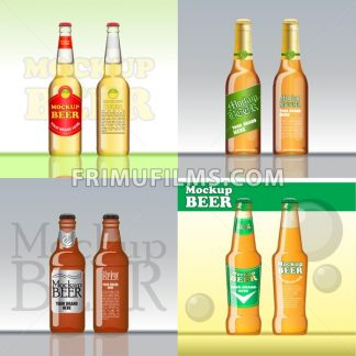 Digital vector beer set mockup, green and golden bottle, realistic flat style, isolated and ready for your design and logo - frimufilms.com
