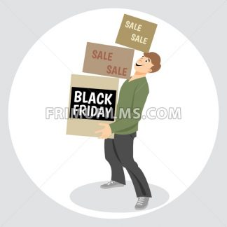 Digital vector black friday sale inscription design template with a happy man and shopping boxes - frimufilms.com