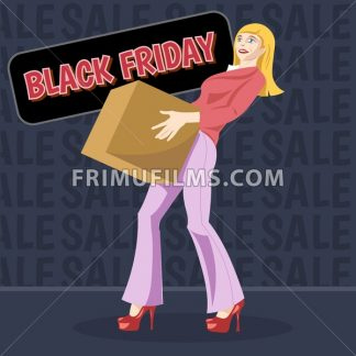 Digital vector black friday sale inscription design template with a happy woman and a shopping box. - frimufilms.com