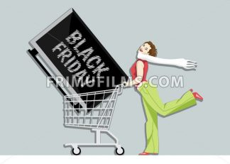 Digital vector black friday sale inscription design template with a happy woman and a tv on a shopping cart. - frimufilms.com