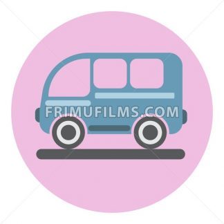 Digital vector blue bus icon on pink circle, flat style. - frimufilms.com